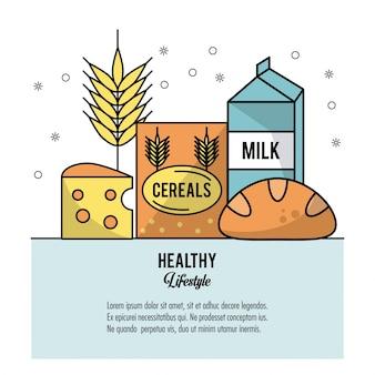 Conjunto de alimentos queijo cereais de trigo caixa de leite e pão