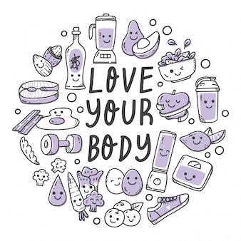 Conjunto de alimentos saudáveis na ilustração de estilo doodle kawaii