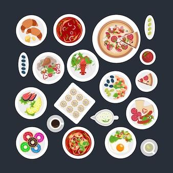 Conjunto de alimentos vista superior
