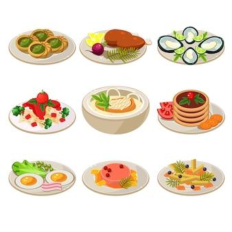 Conjunto de almoço europeu de ícones de comida
