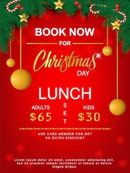 Conjunto de almoço feliz natal brochura