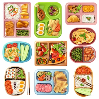 Conjunto de almoços em caixa