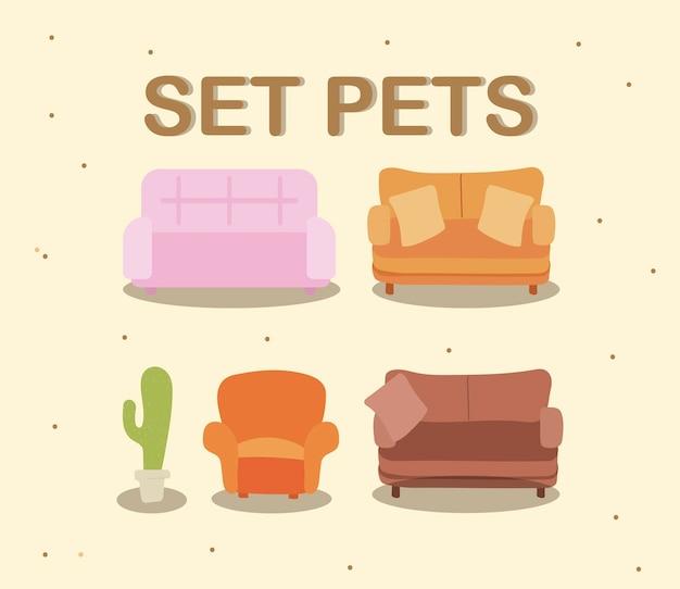 Conjunto de almofadas de sofá e ilustração de decoração de plantas em vasos
