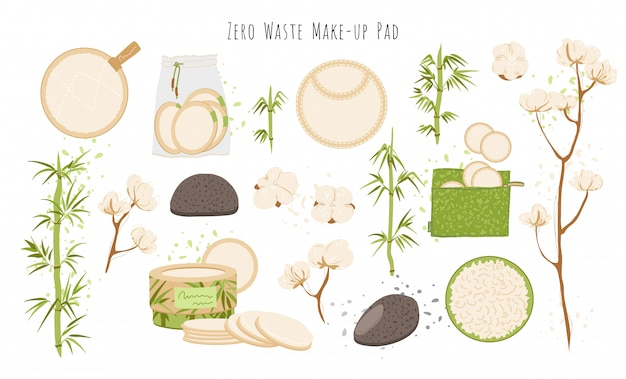 Conjunto de almofadas removedoras reutilizáveis de zero resíduos orgânicos, lavável eco-friendly de bambu natural em algodão. panos de limpeza faciais laváveis para maquiagem dos olhos remover, ilustração de limpeza de rosto
