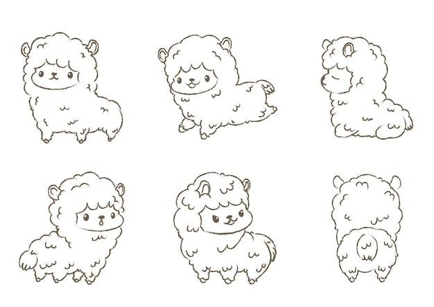 Conjunto de alpacas de contorno desenhado à mão.