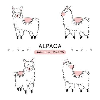 Conjunto de alpacas doodle em várias poses isoladas