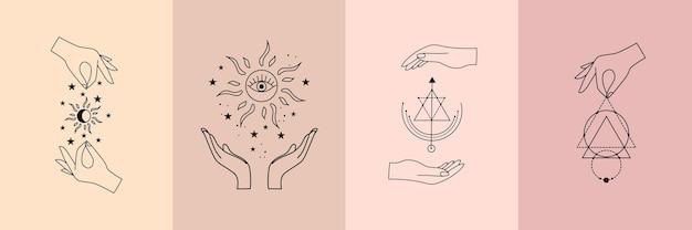 Conjunto de alquimia vetorial esotérico místico talismã mágico