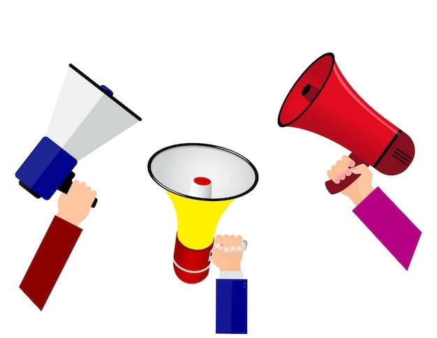 Conjunto de alto-falante de mão megafone ou de mão com alto-falante portátil