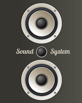 Conjunto de alto-falantes de áudio vintage. o conceito de sistema de som