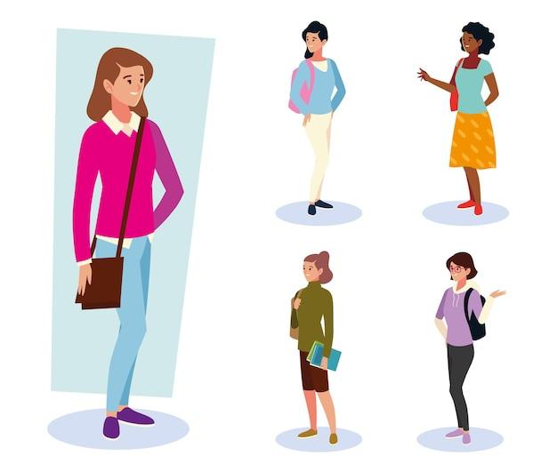 Conjunto de alunas universitárias em pé com sacolas