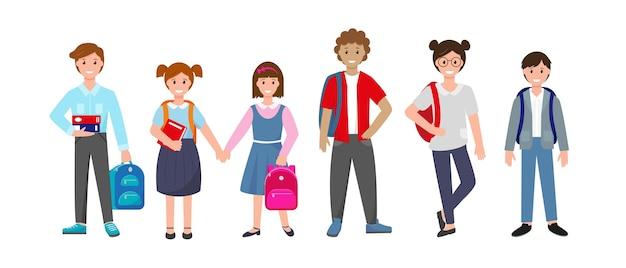Conjunto de alunos em pé com livros e mochilas escolares