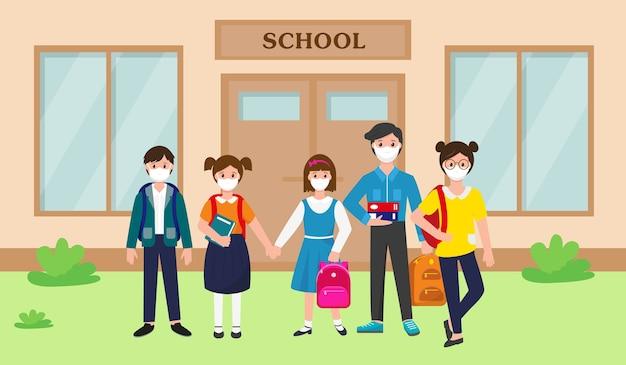 Conjunto de alunos em pé com máscaras nos rostos perto do prédio da escola.