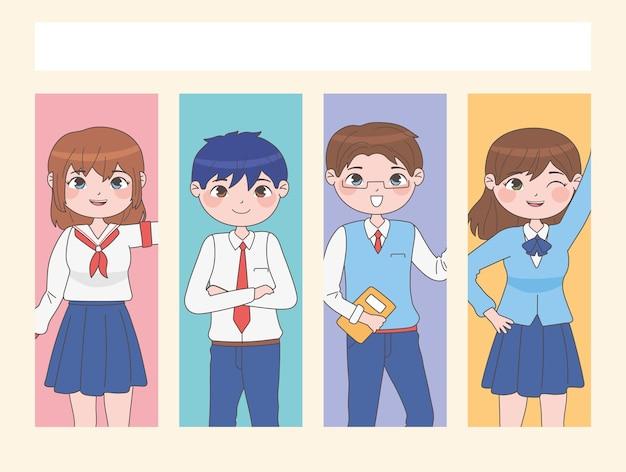 Conjunto de alunos no estilo mangá em retângulos de cores diferentes