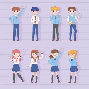 Conjunto de alunos no estilo mangá