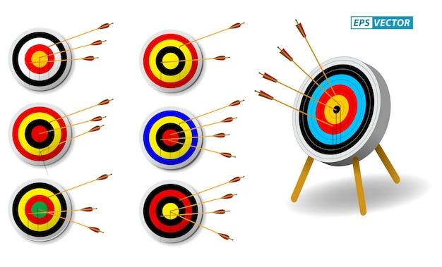 Conjunto de alvo de tiro com arco com flechas em fundo branco isolado vetor eps