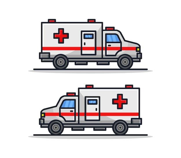 Conjunto de ambulância ilustrado de desenho animado