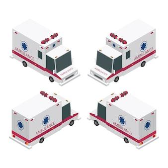 Conjunto de ambulância isométrico isolado no fundo branco