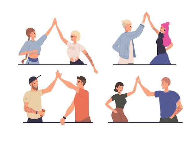 Conjunto de amigos de personagens de desenhos animados se cumprimentando felizes