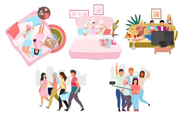 Conjunto de amigos juntos ilustração. grupo de pessoas gastando tempo personagens de desenhos animados. reunião de melhores amigas masculinas e femininas. amizade. mulheres, homens comendo pizza, assistindo filme, tomando selfie