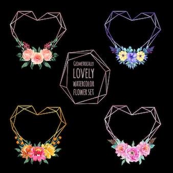 Conjunto de amor aquarela flor geométrica