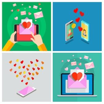 Conjunto de amor. ilustração do dia dos namorados. receber ou enviar emails amorosos para o dia dos namorados, relacionamento à distância. design plano, ilustração vetorial Vetor Premium