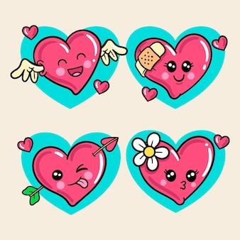 Conjunto de amor kawaii colorido