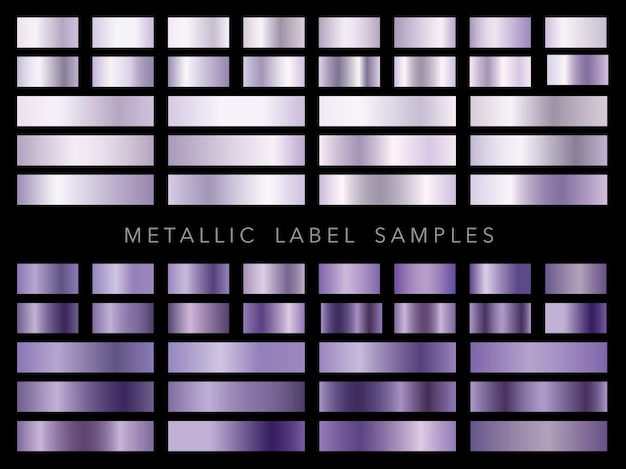 Conjunto de amostras de etiquetas metálicas isoladas em um fundo preto