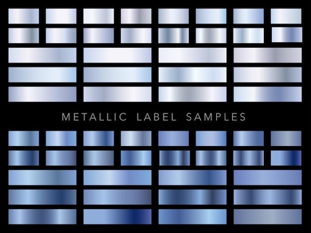 Conjunto de amostras de etiquetas metálicas sortidas
