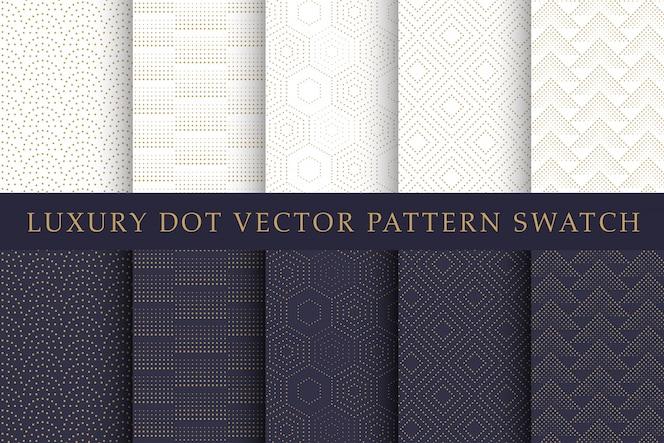 Conjunto de amostras de padrão de pontos de luxo dourado