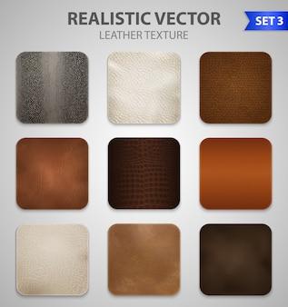 Conjunto de amostras de remendos de couro realista