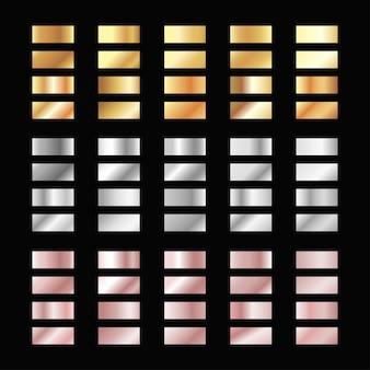 Conjunto de amostras metálicas, gradientes de ouro prata bronze