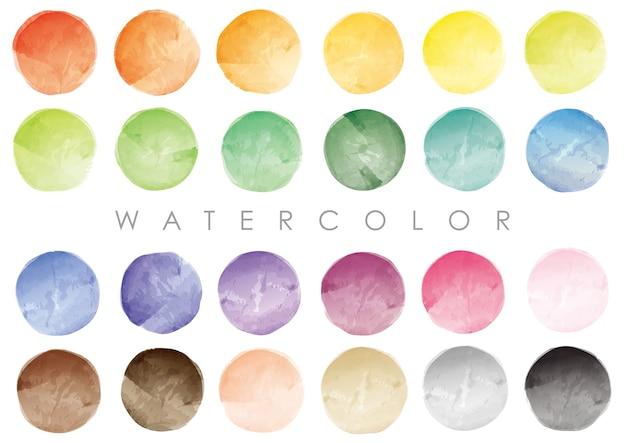 Conjunto de amostras redondas de aquarela ou fundos. vetor isolado em um fundo branco.