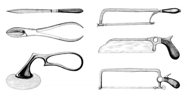 Conjunto de amputação médica vintage mão estilo de gravura de desenho
