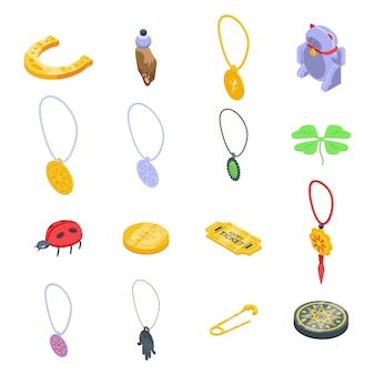 Conjunto de amuletos da sorte. conjunto isométrico de amuleto para web design isolado no fundo branco