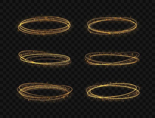 Conjunto de anéis de luz dourados de luxo