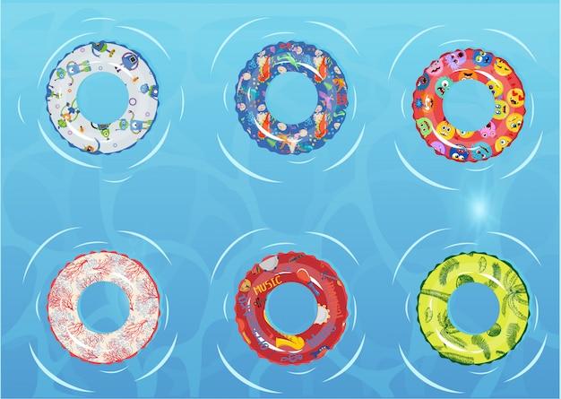 Conjunto de anéis de natação. brinquedo de borracha incapaz.