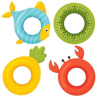 Conjunto de anéis de natação de borracha colorida. ícone dos desenhos animados estilo simples