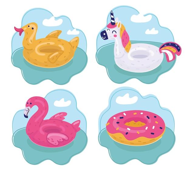 Conjunto de anéis de natação de verão