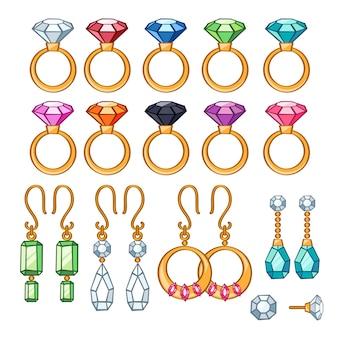 Conjunto de anéis e brincos variados.