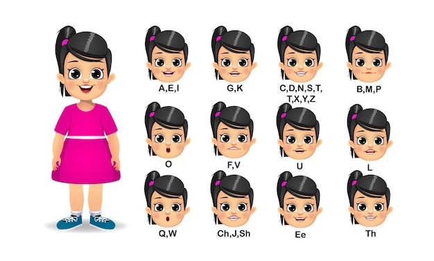 Conjunto de animação de boca de menina e pronúncia do alfabeto