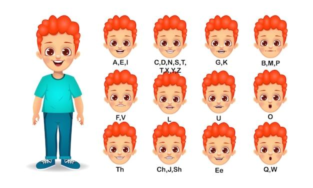 Conjunto de animação de boca de menino adolescente e pronúncia do alfabeto