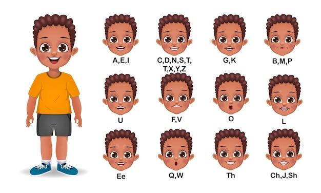 Conjunto de animação de boca de menino africano e pronúncia do alfabeto