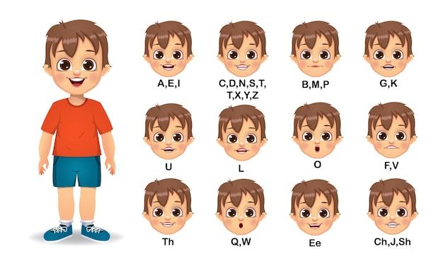 Conjunto de animação de boca de menino e pronúncia do alfabeto