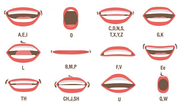 Conjunto de animação de boca