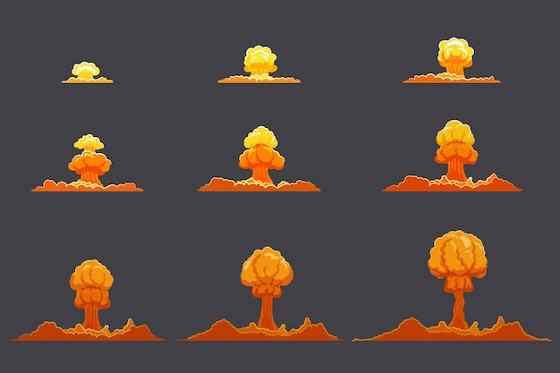 Conjunto de animação de explosão plana brilhante