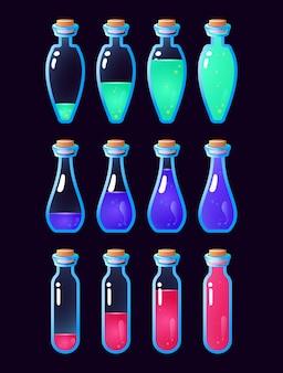 Conjunto de animação de garrafa de poção gui de baixo a cheio para elementos de recursos de interface do usuário do jogo