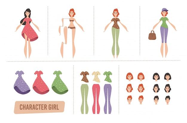 Conjunto de animação de personagens femininas dos desenhos animados ou kit diy