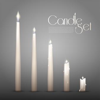 Conjunto de animação de velas acesas aromáticas