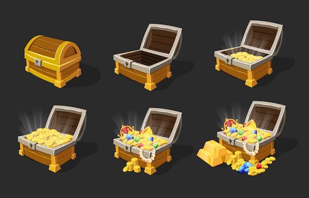 Conjunto de animação isométrica de baús de tesouro