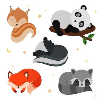 Conjunto de animais adoráveis dormindo plana.